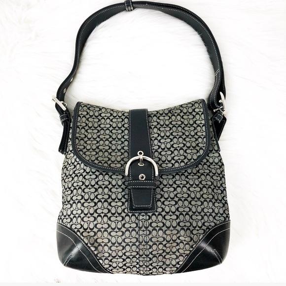 0fbccea086c Coach Bags   Signature Canvas Leather Shoulder Bag Black   Poshmark